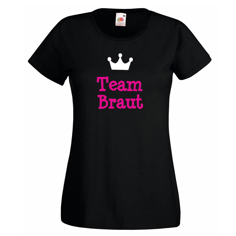 Schwarzes Junggesellinnenabschied-T-Shirt mit Team Braut-Schriftzug und Krone