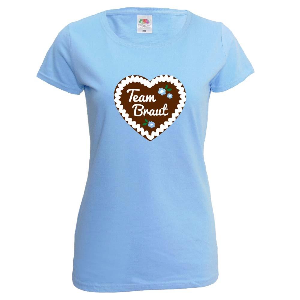 Hellblaues JGA T-Shirt mit Lebkuchenherz und Team Braut-Schriftzug