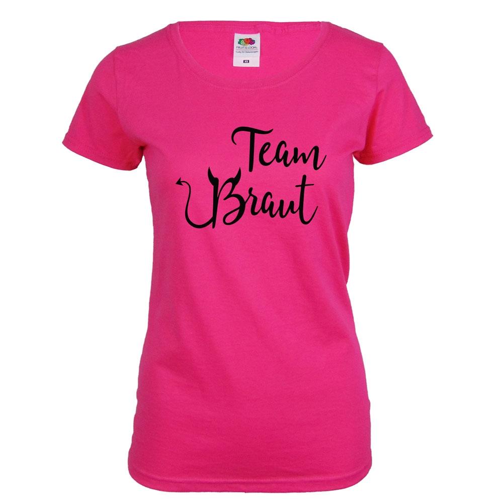 Pinkfarbenes JGA T-Shirt mit Team Braut Teufel-Motiv