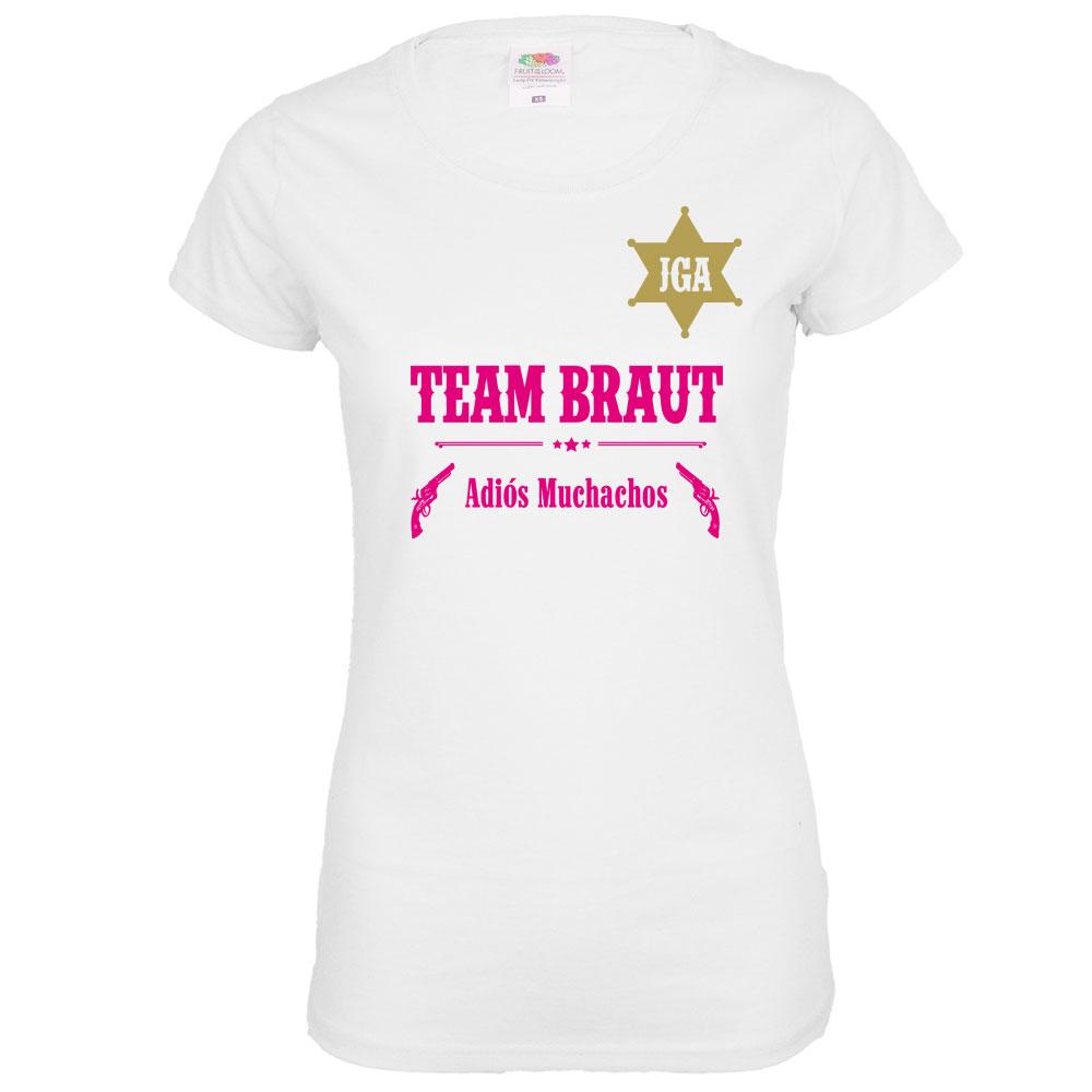 Weißes Team Braut JGA-Shirt im Western-Look