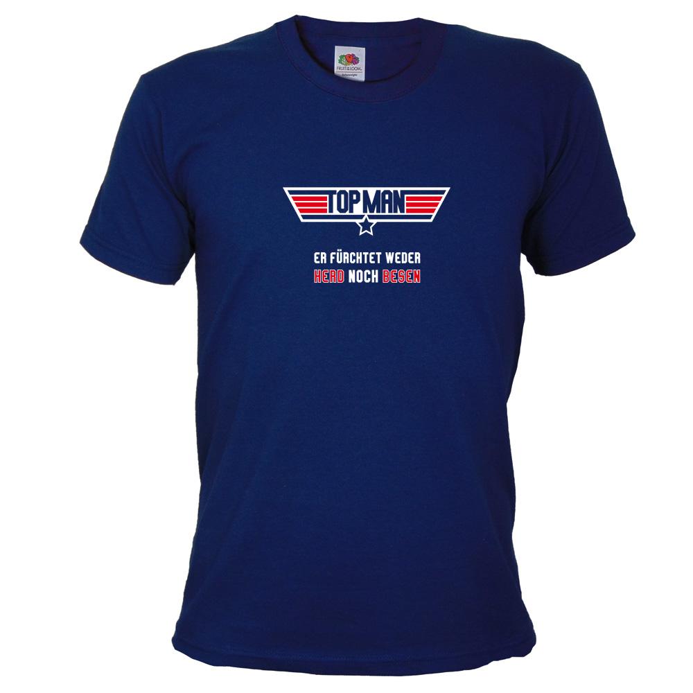 Junggesellenabschied T-Shirt mit Top Man Motiv in Dunkelblau