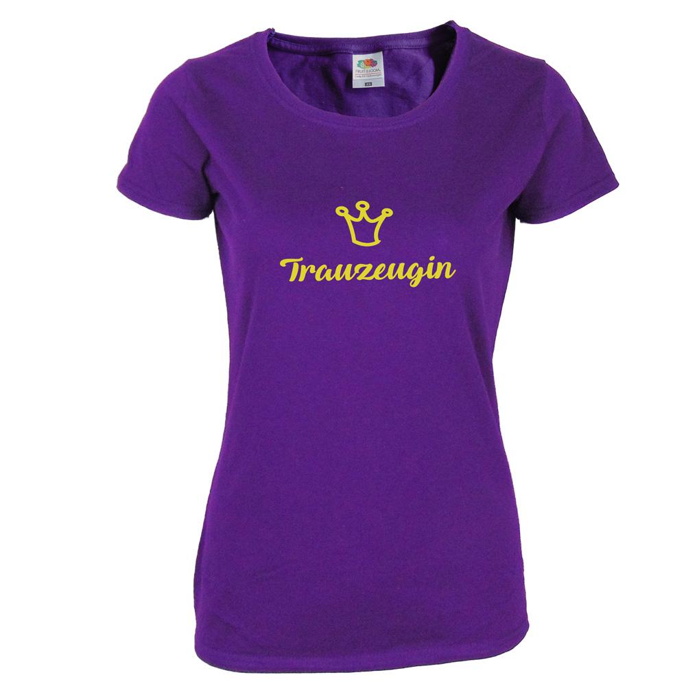 Lilafarbnes Trauzeugin-T-Shirt mit goldfarbener Krone