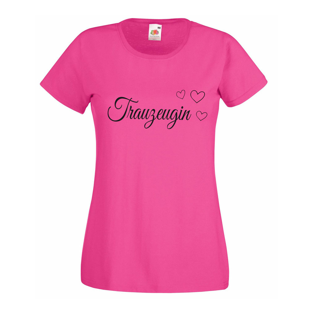 Pinkfarbenes Baumwoll-Shirt mit Trauzeugin-Motiv