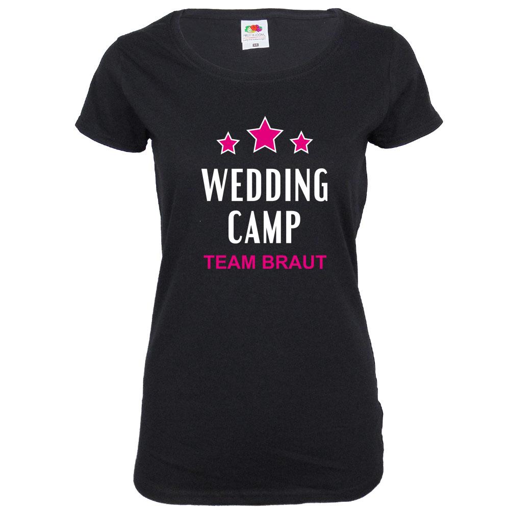 Schwarzes JGA Damen-Shirt mit Wedding Camp-Motiv