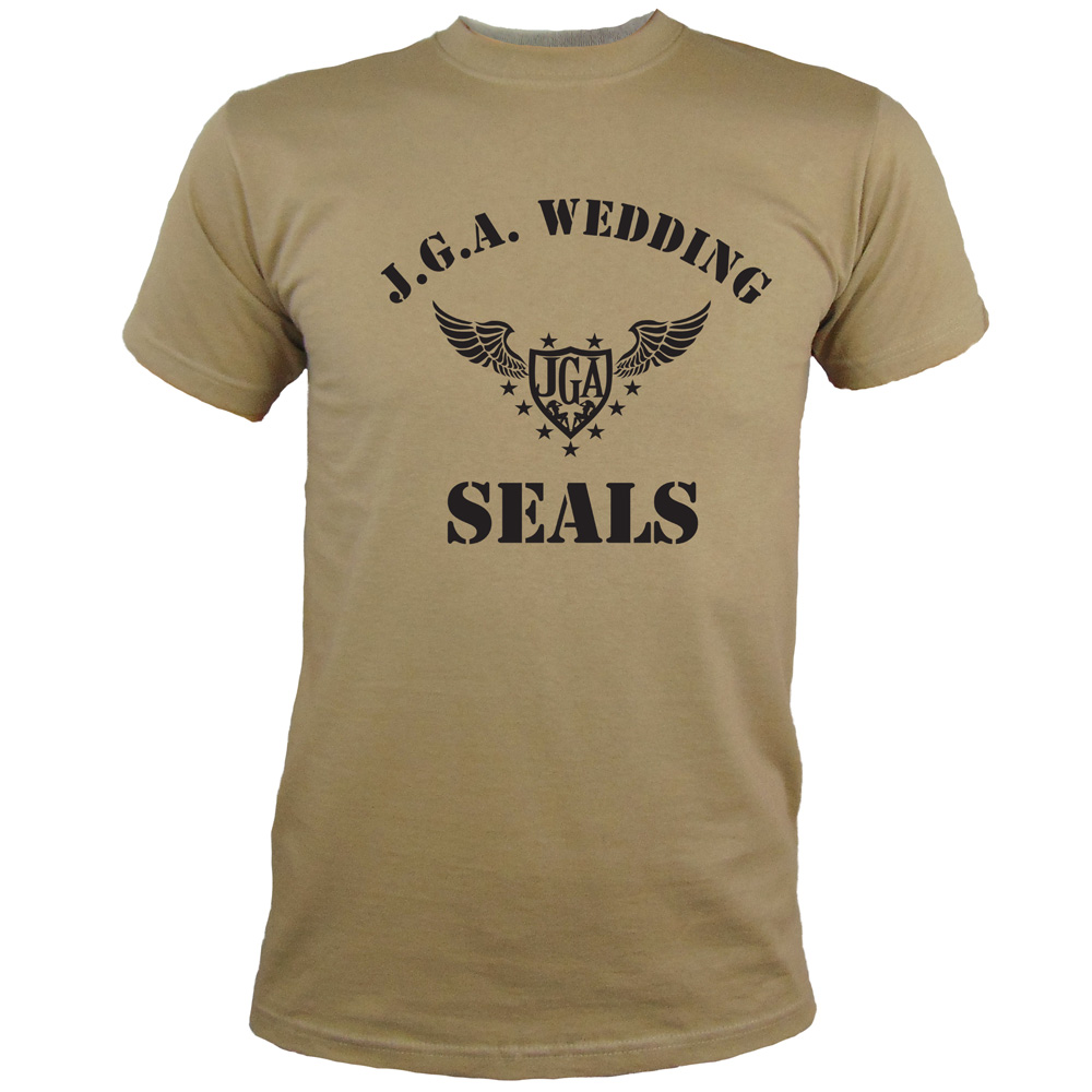 Junggesellenabschied-Shirt Wedding Seals in Khaki