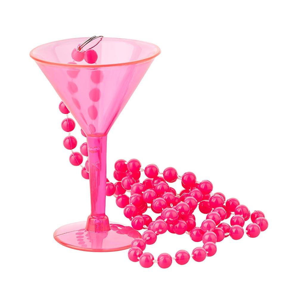 Pinkfarbenes Martini-Glas zum Umhaengen - Junggesellinnenabschied