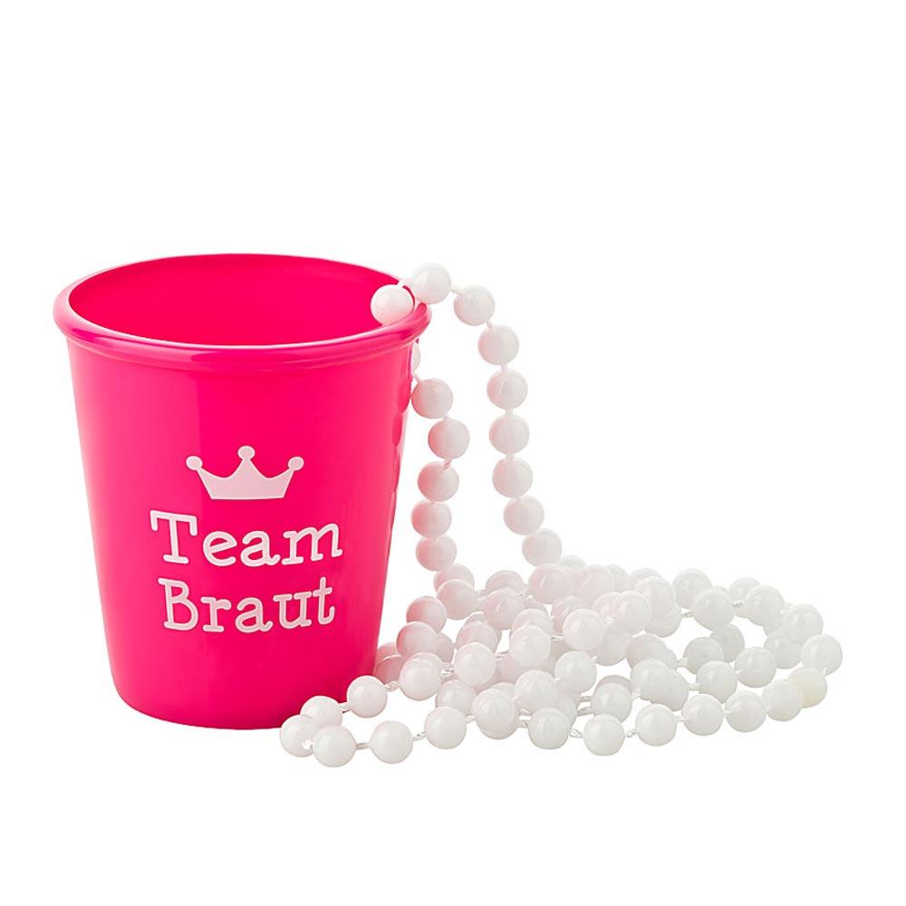JGA Shotglas zum Umhaengen - Team Braut - Pink