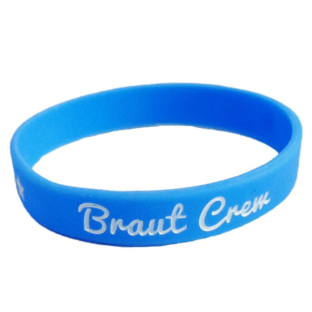 Blaues Silikon-Armband mit Braut Crew-Schriftzug - Junggesellinnenabschied