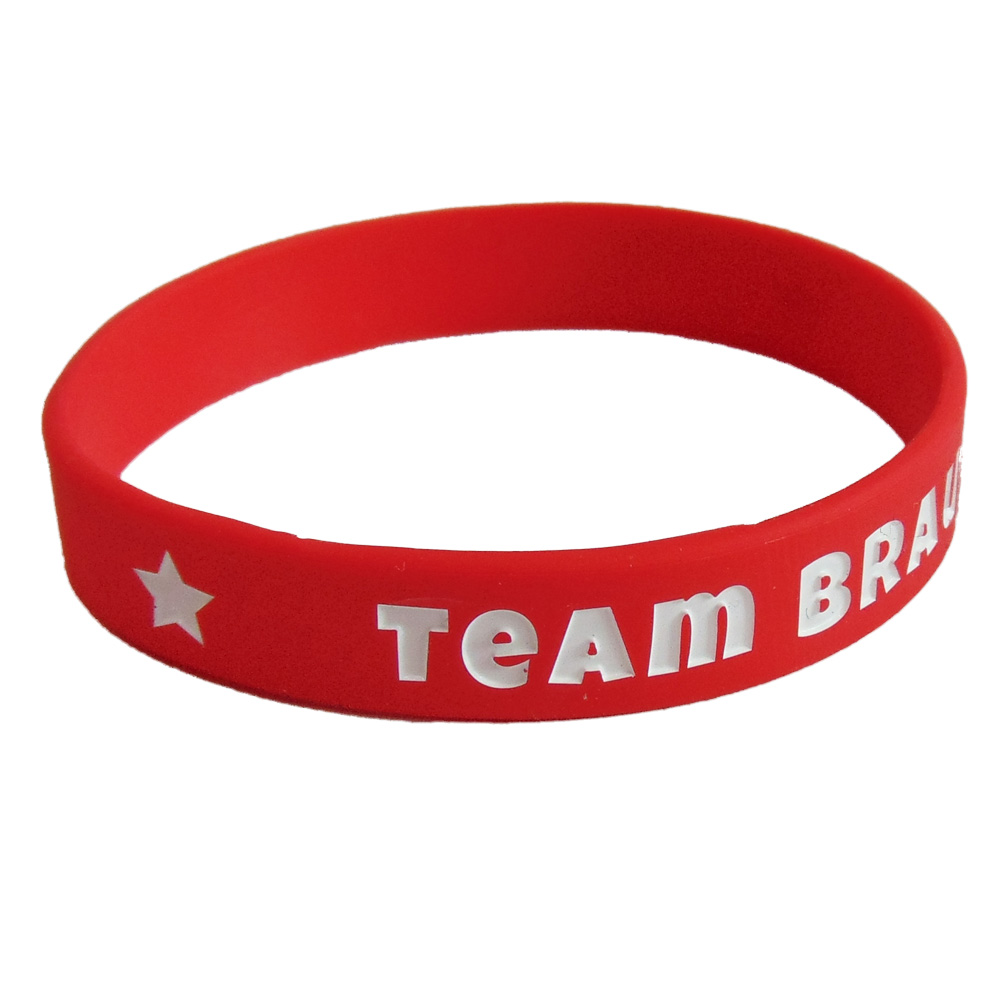 Rotes Silikon-Armband mit Team Braut-Schriftzug - Junggesellinnenabschied