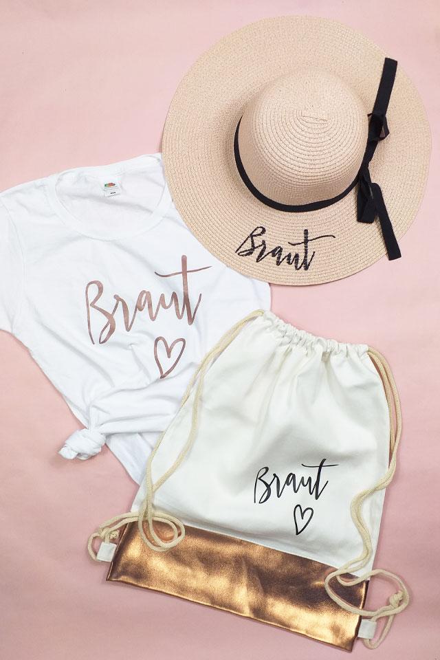JGA-Sommer-Outfit - Braut-Shirt & Sonnenhut in Rose