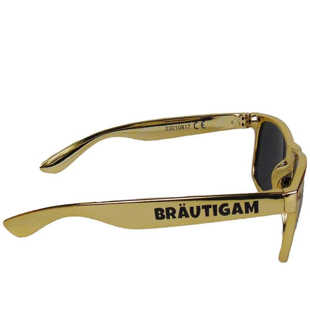 Goldfarbene JGA Sonnenbrille mit Braeutigam-Aufdruck