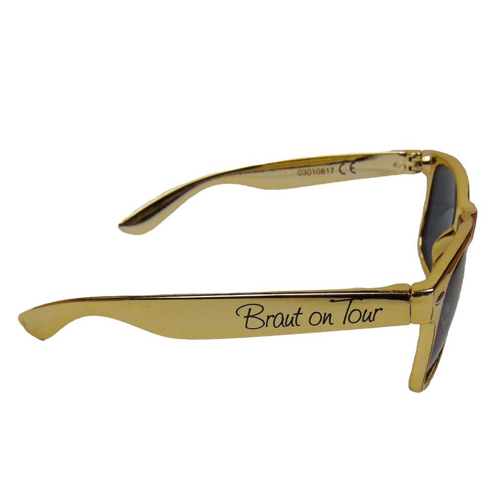 Goldfarbene JGA Sonnenbrille mit Braut-Aufdruck