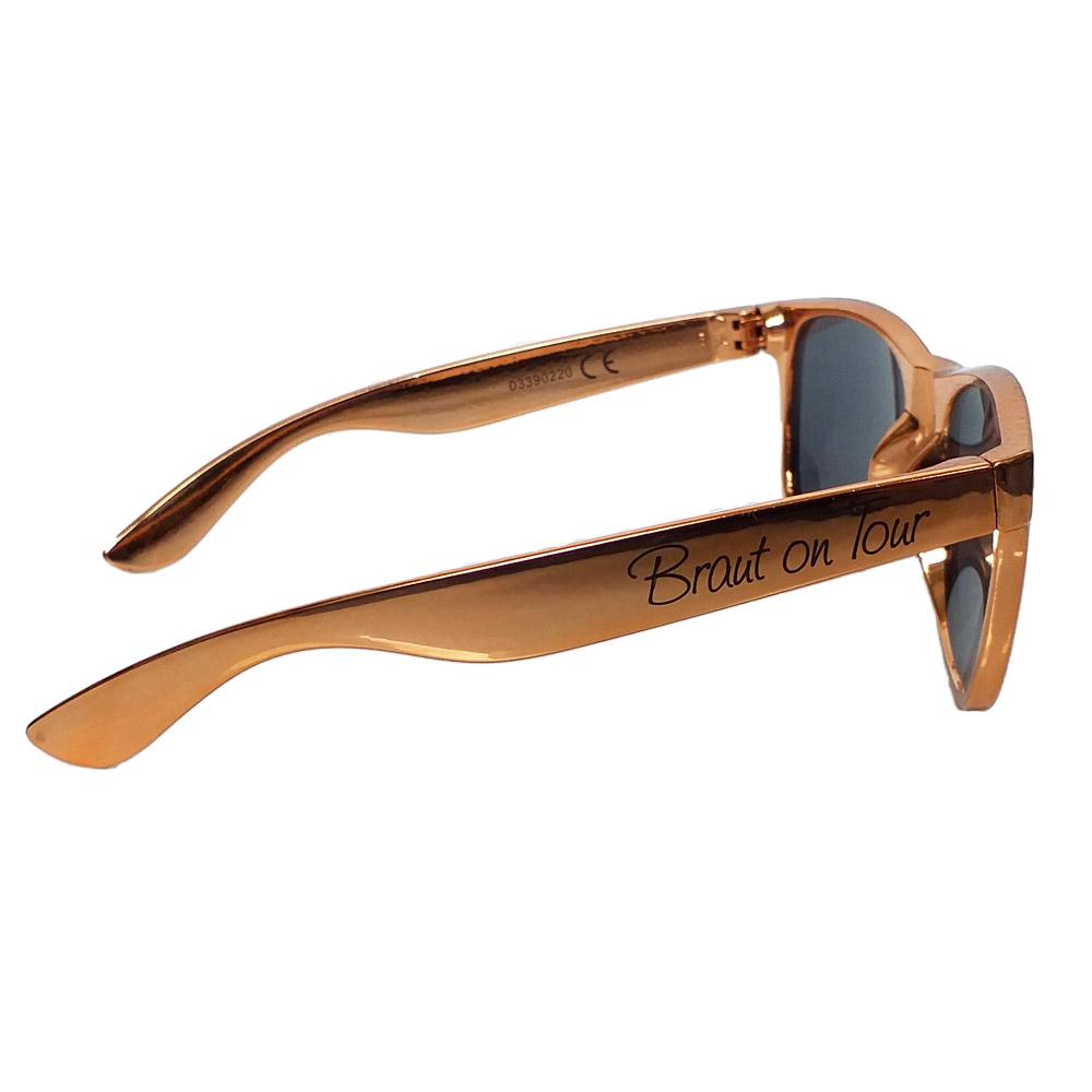 JGA-Damen-Sonnenbrille in Rosegold mit Braut-Schriftzug