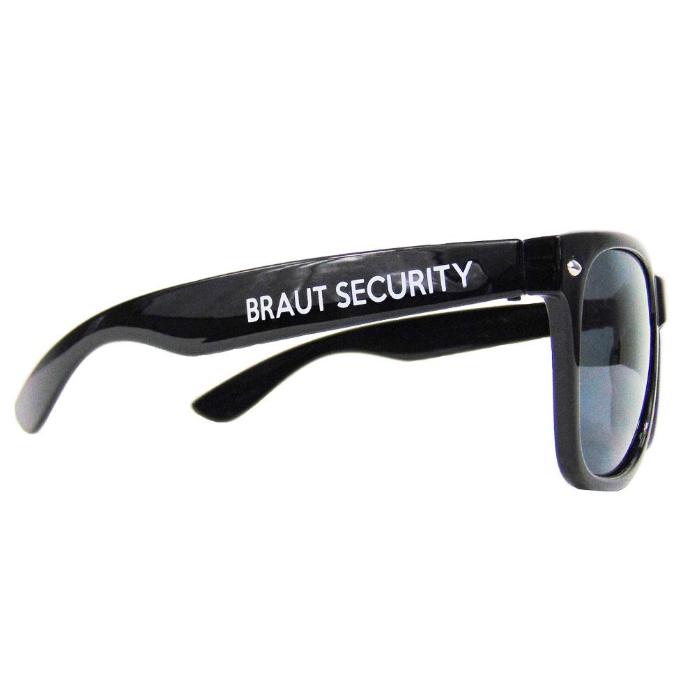 Junggesellenabschied-Sonnenbrille mit Braut Security-Motiv