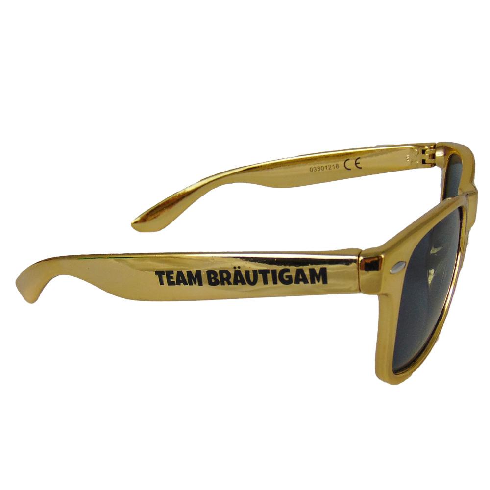Goldfarbene JGA Sonnenbrille mit Team Braeutigam-Aufdruck
