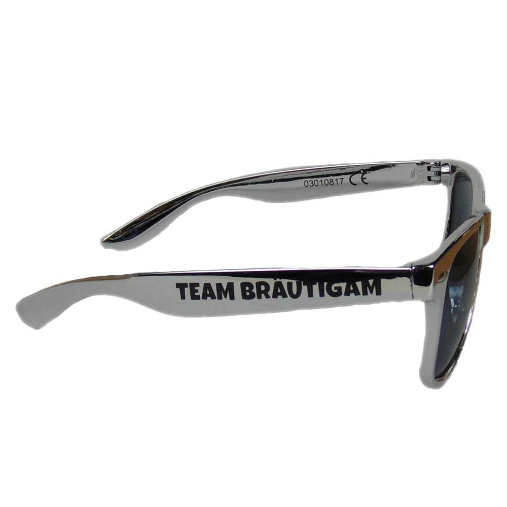 Silberfarbene JGA Sonnenbrille mit Team Braeutigam-Aufdruck