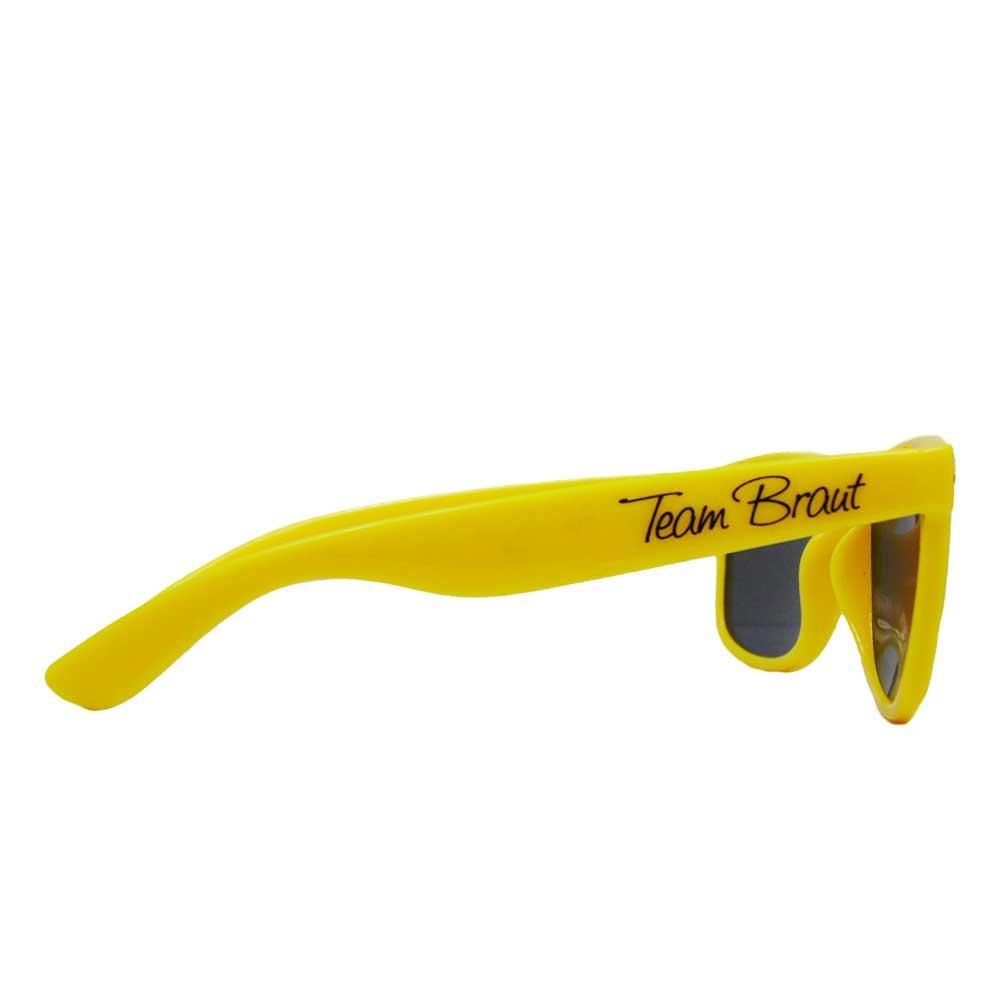 Gelbe JGA Sonnenbrille mit Team Braut-Aufdruck