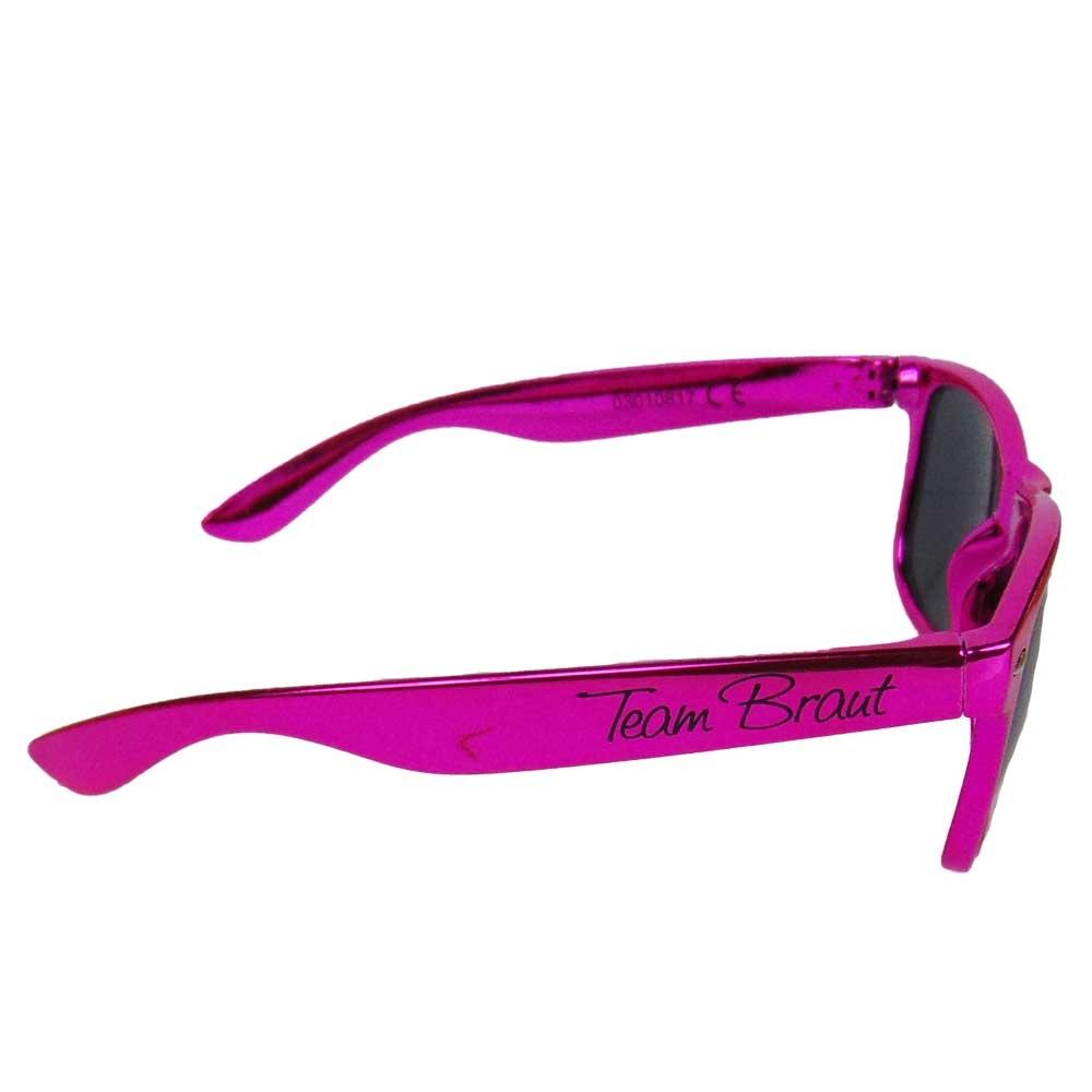JGA Sonnenbrille mit Team Braut-Aufdruck in Metallic-Pink