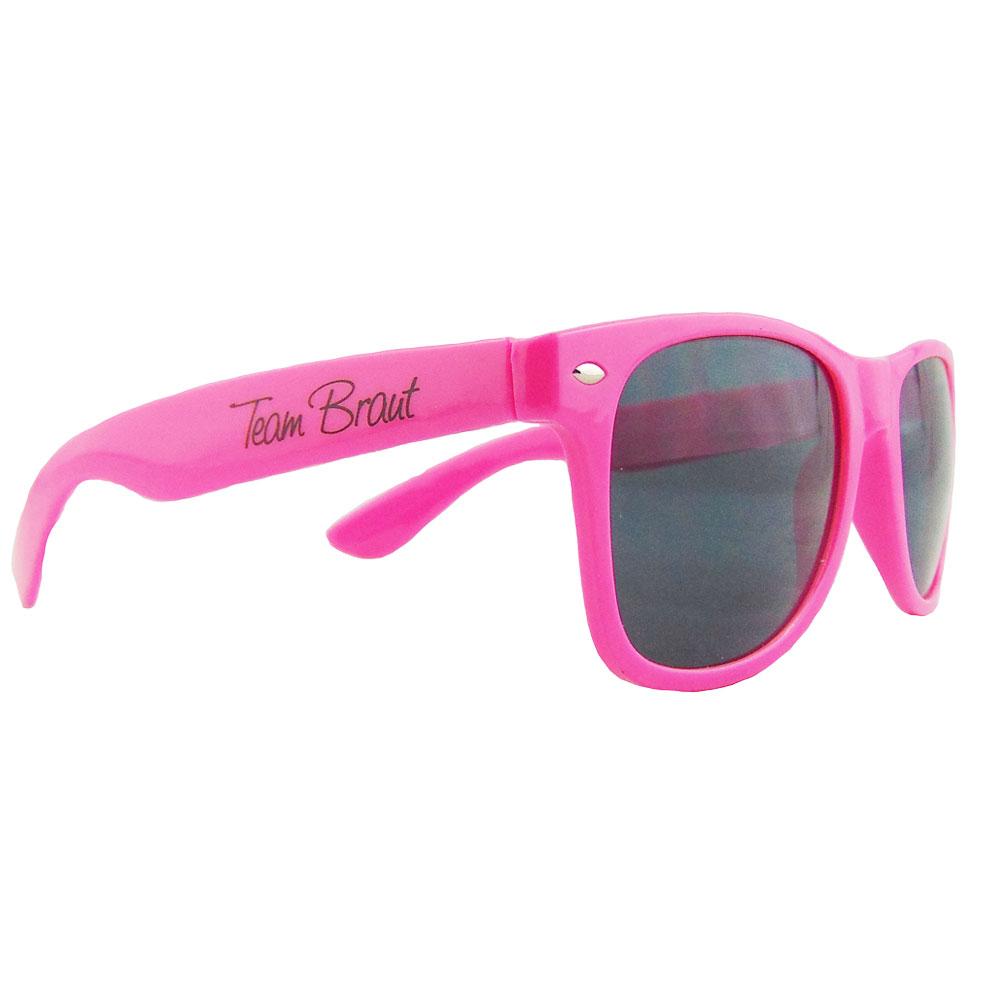 Pinkfarbene JGA-Sonnenbrille mit Team Braut-Motiv