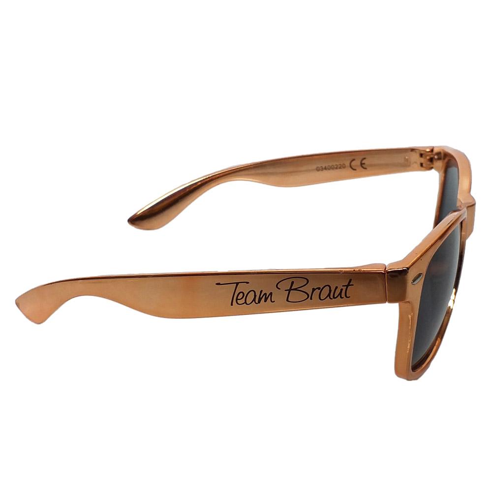 Junggesellinnenabschied-Sonnenbrille in Rosegold mit Team Braut-Aufdruck