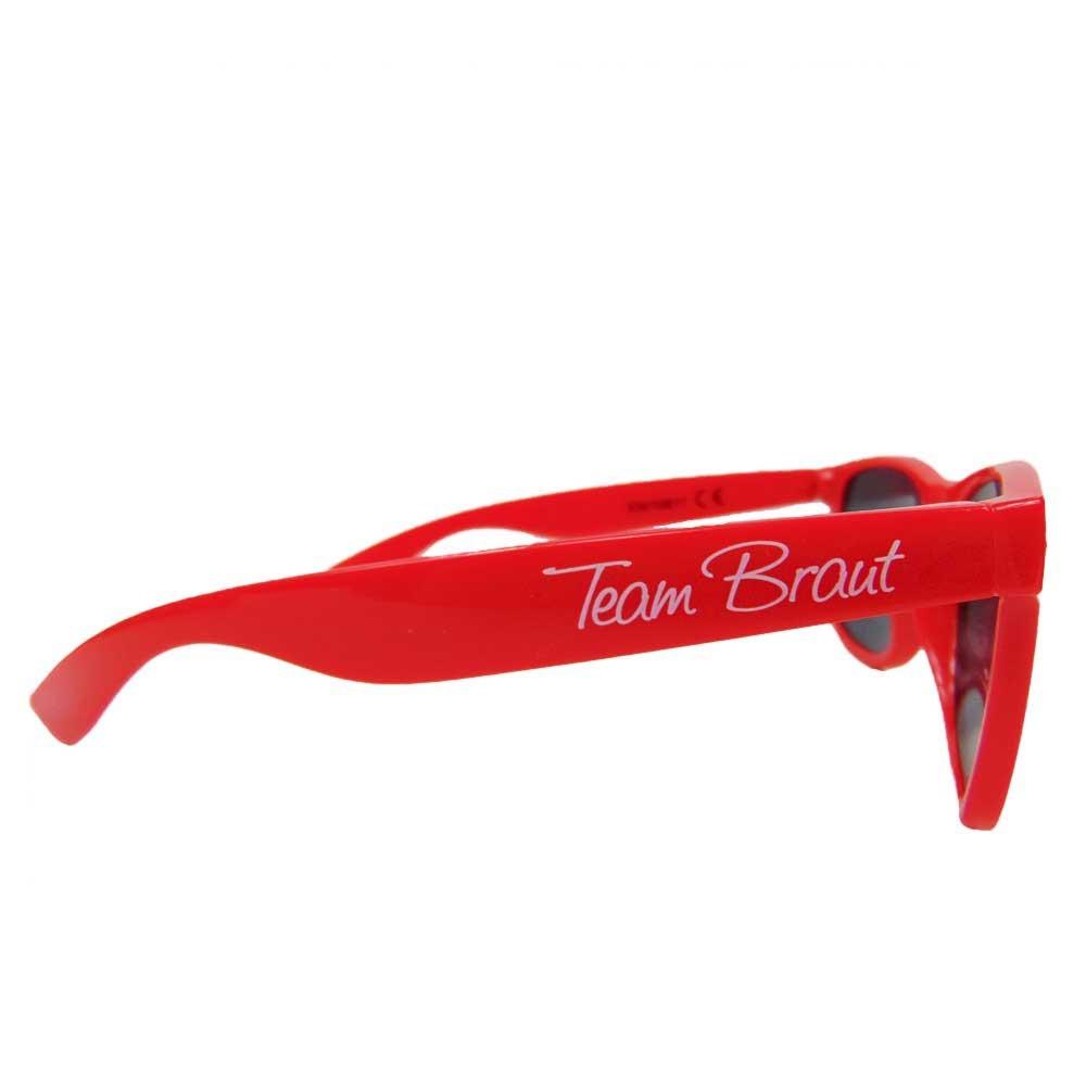 Rote JGA Sonnenbrille mit Team Braut-Aufdruck