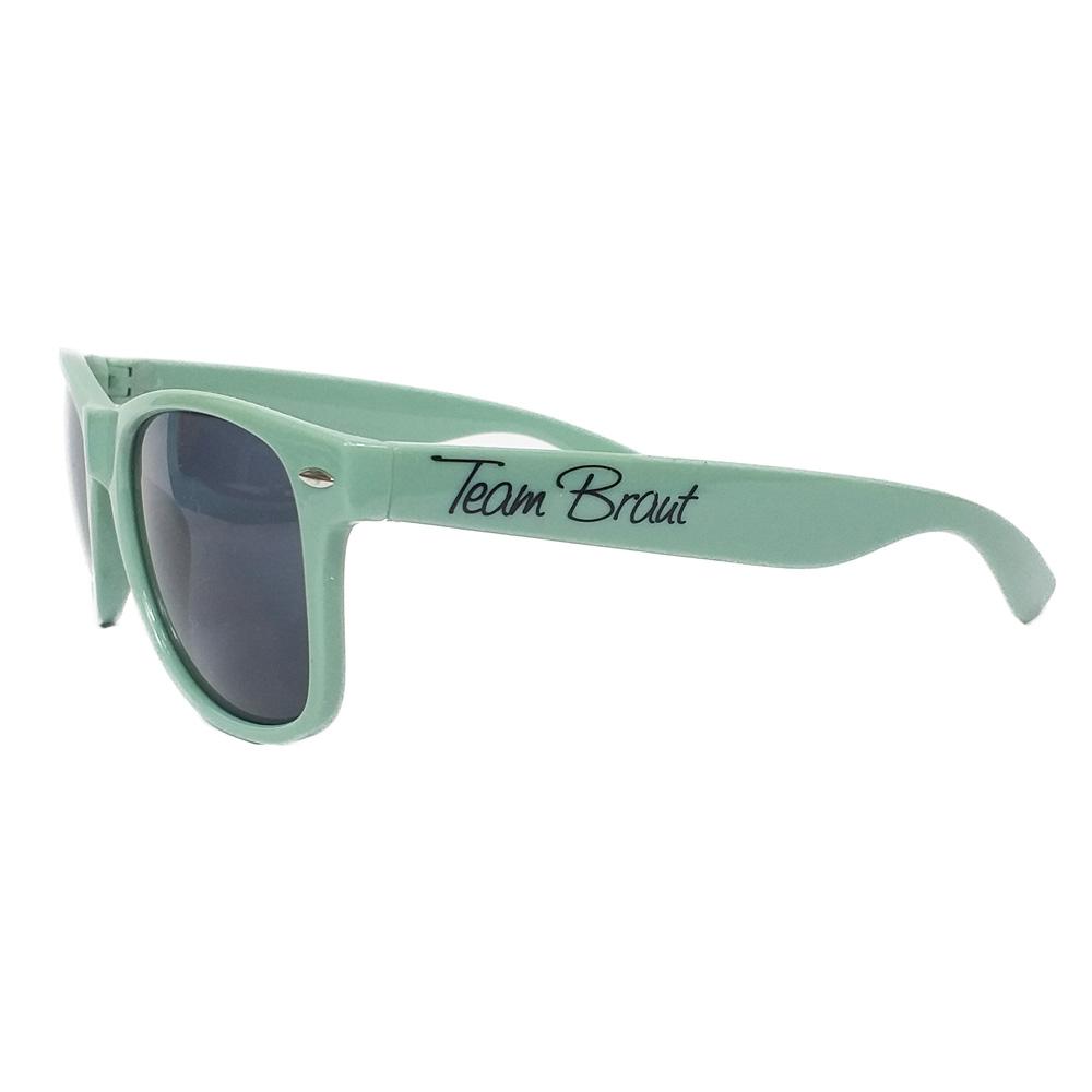 Team Braut-Sonnenbrillein Salbei-Grün für den Junggesellinnenabschied