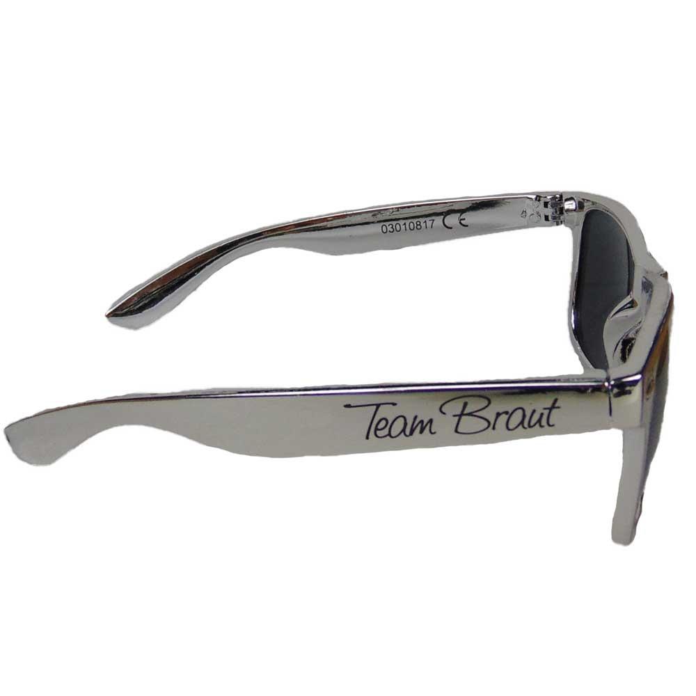 Silberfarbene JGA Sonnenbrille mit Team Braut-Aufdruck