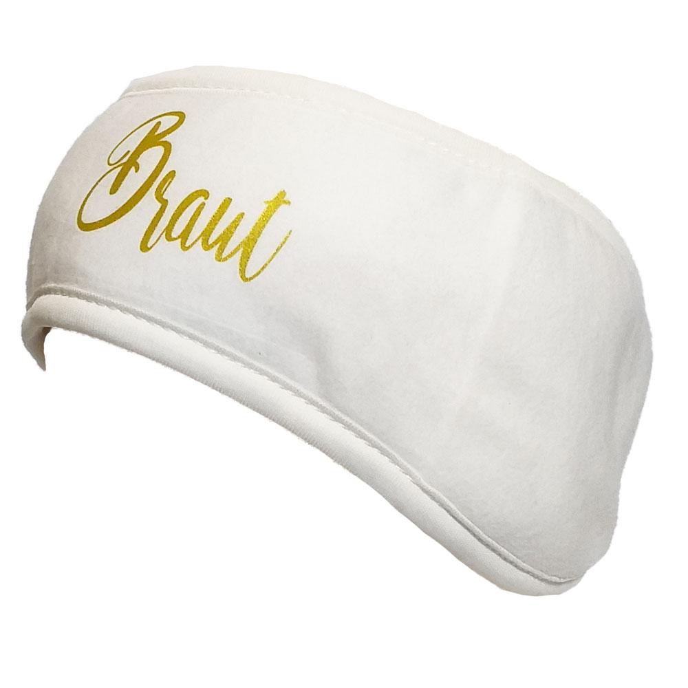 Weißes Fleece-Stirnband mit Braut-Aufdruck