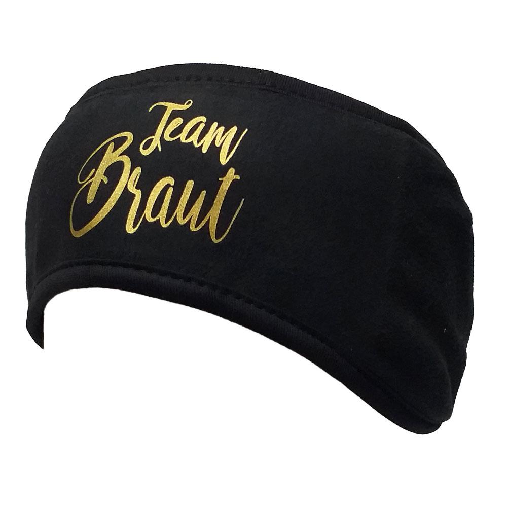Weißes Fleece-Stirnband mit Team Braut-Aufdruck