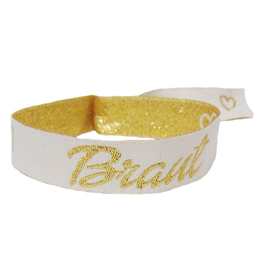 Weißes Stoff-Armband mit goldfarbenem Braut-Schriftzug