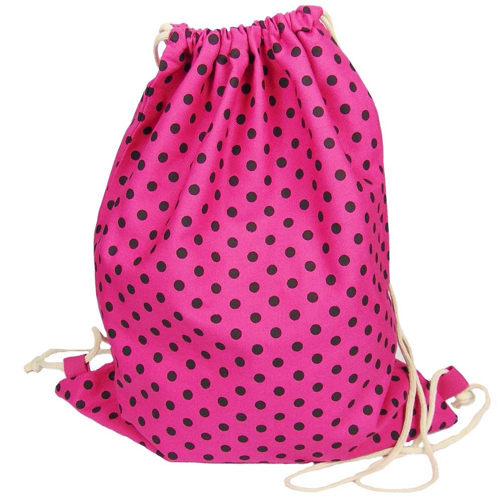 Gepunkteter Baumwoll-Turnbeutel - Pink mit schwarzen Punkten