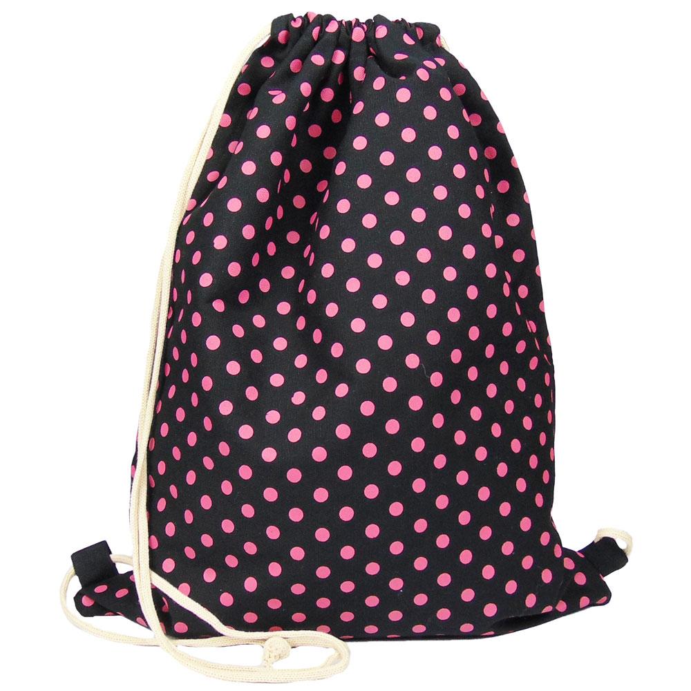 Stoffbeutel-Rucksack mit Punkten in Schwarz und Pink