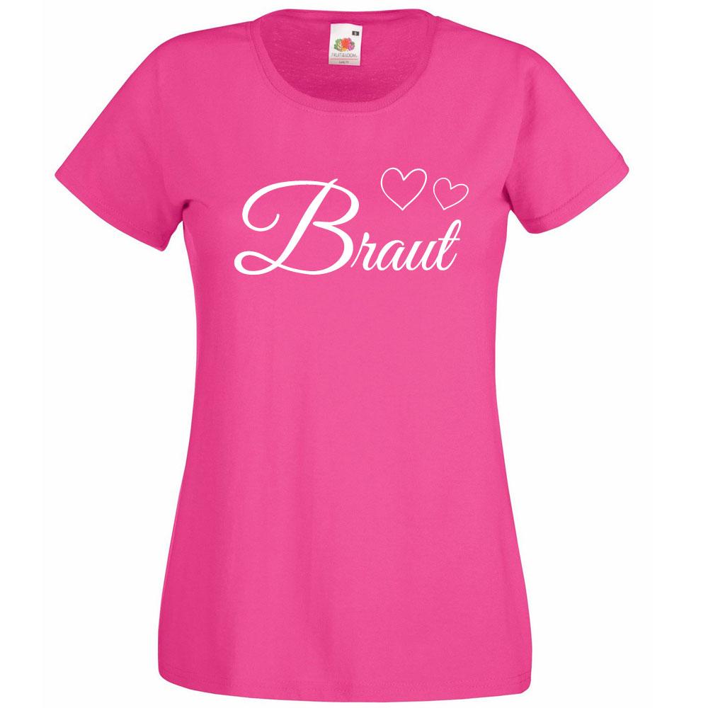 JGA-Shirt Braut mit Herzen - Pink
