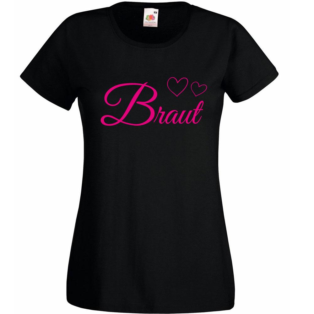 JGA-T-Shirt Braut mit Herzen - Schwarz