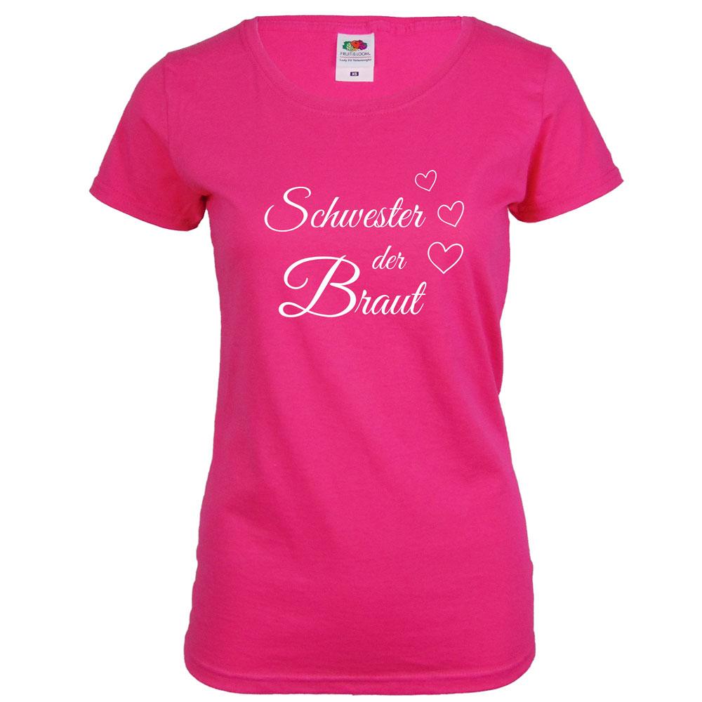 Pinkfarbenes JGA Shirt mit Schwester der Braut-Aufdruck