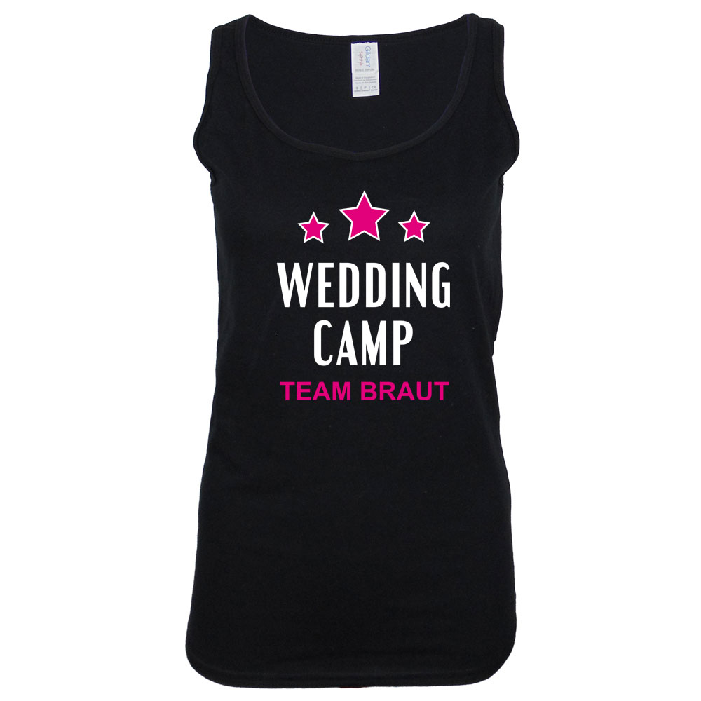 Schwarzes JGA Tank Top mit Wedding Camp-Motiv