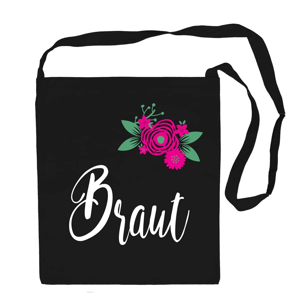 Schwarze Umhaengetasche mit Braut-Aufschrift und Blumen-Motiv