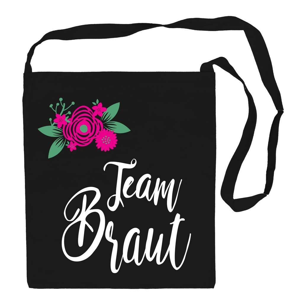 Schwarze Umhaengetasche mit Team Braut-Aufschrift und Blumen-Motiv