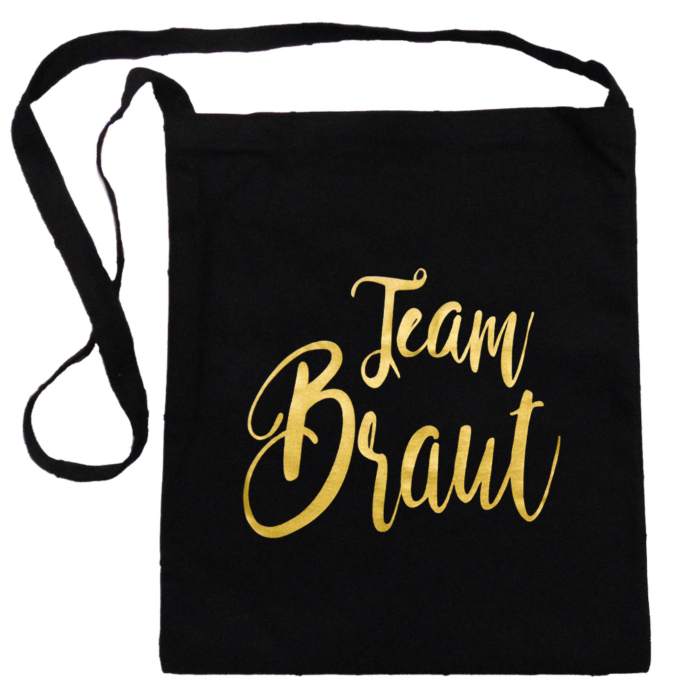 Schwarze Umhaengetasche mit goldfarbenem Team Braut-Aufdruck