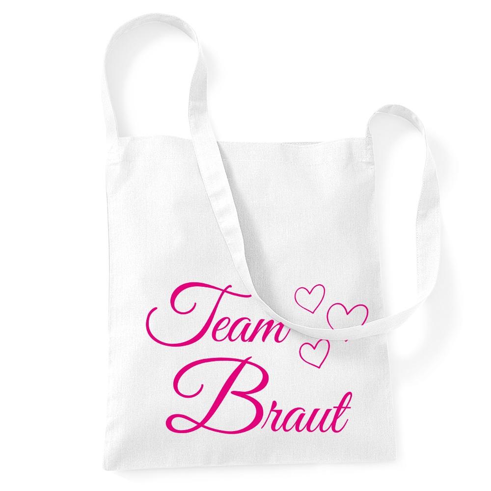 Weiße Umhängetasche mit Team Braut-Aufdruck und Herzen