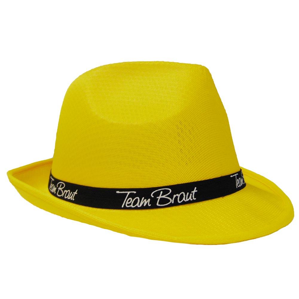 Gelber Junggesellinnenabschied-Hut mit Team Braut-Hutband