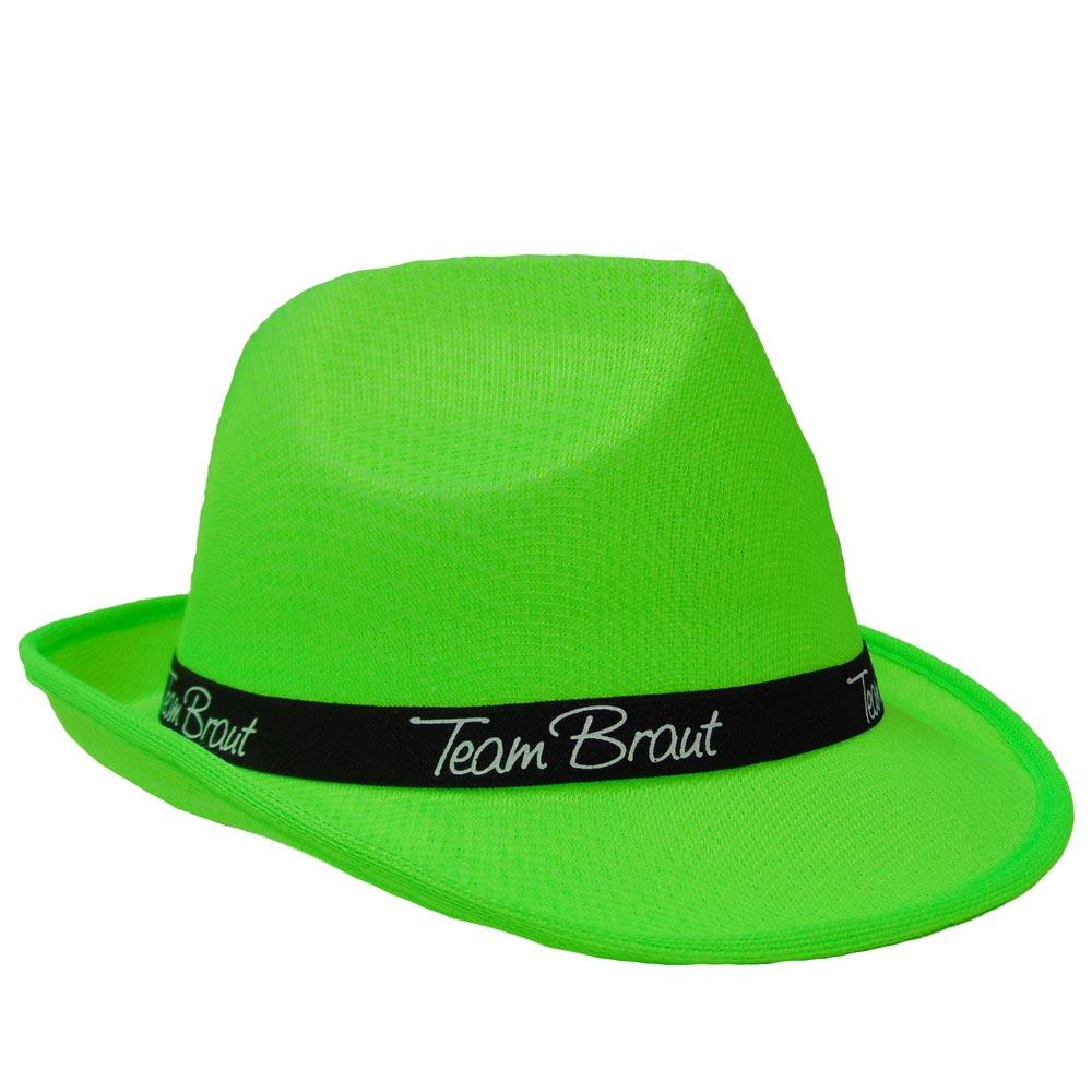 JGA-Hut mit Team Braut-Hutband - Neon-Grün