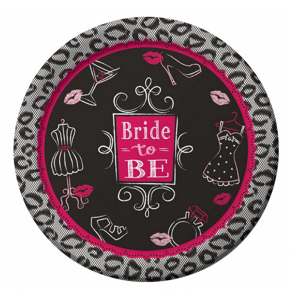 Pappteller mit Bride to be-Motiv für den Junggesellenabschied