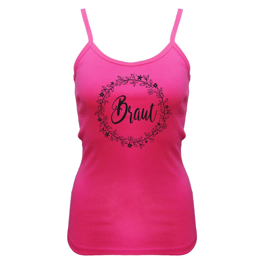 JGA Braut-Trägertop mit Blumen-Motiv - Pink