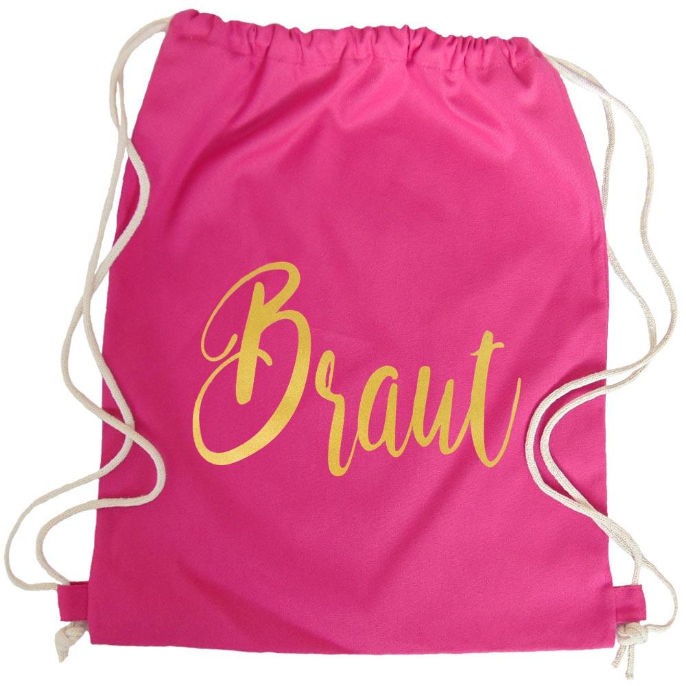 Pinker JGA Turnbeutel mit goldfarbenem Braut-Aufdruck