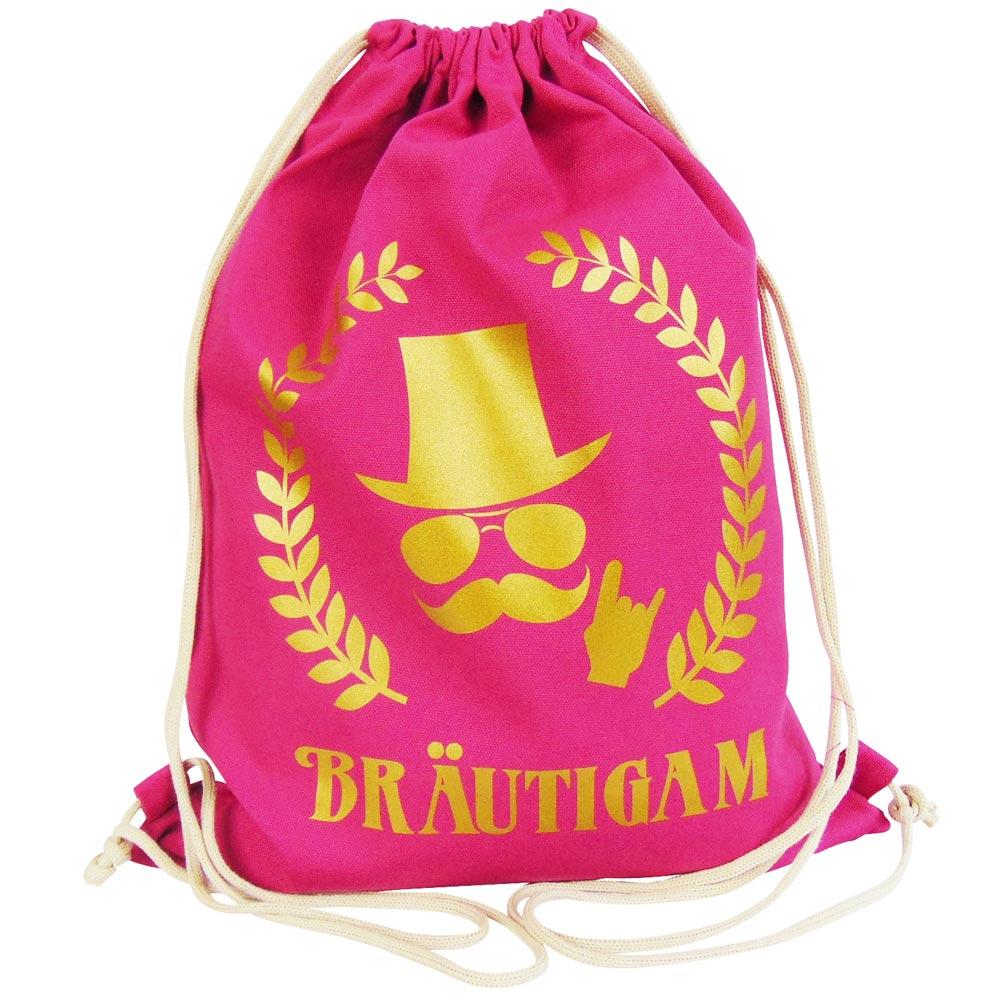 Pinkfarbener JGA Herren-Turnbeutel mit goldfarbenem Braeutigam-Aufdruck