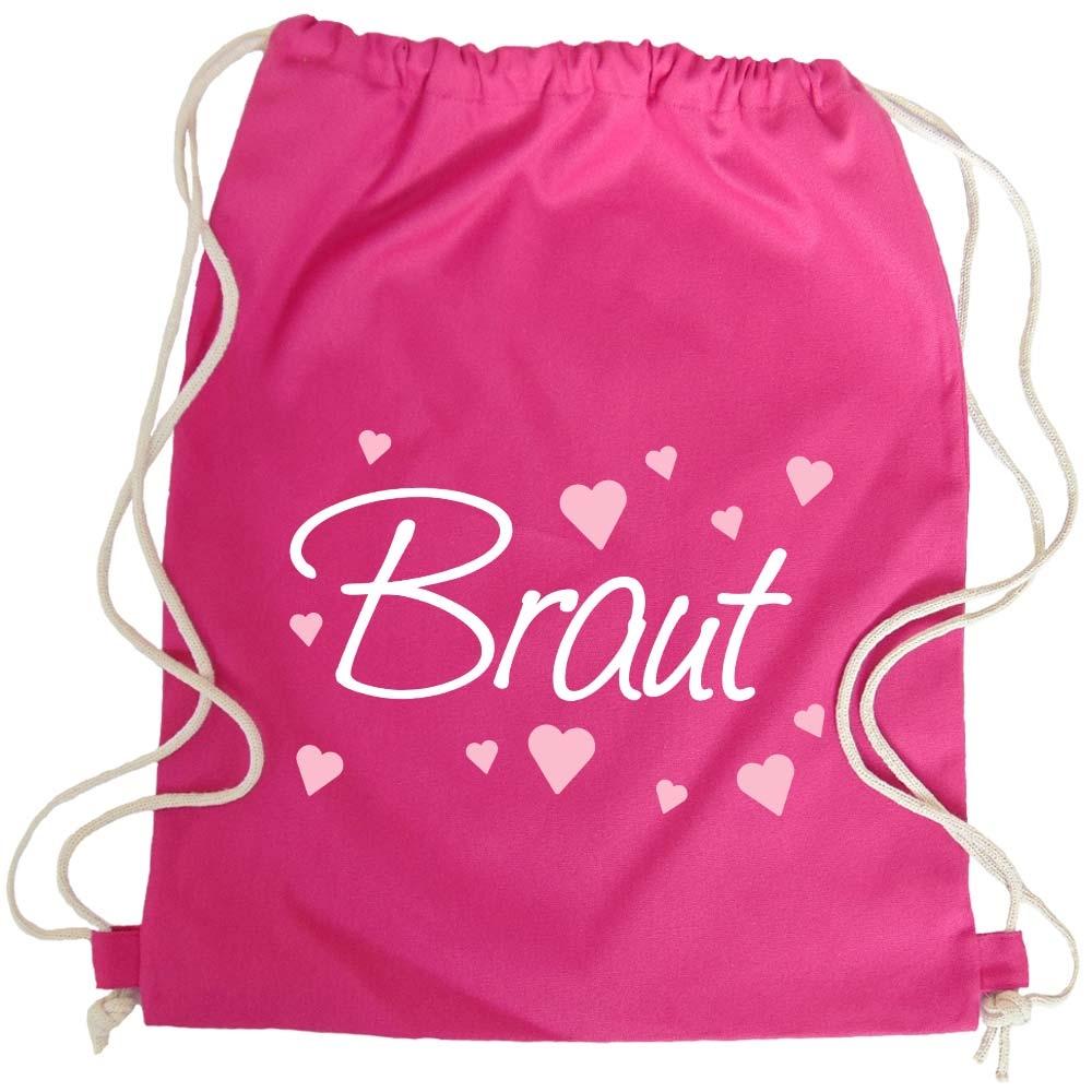 JGA Turnbeutel-Rucksack mit Braut-Herzchen-Motiv - Pink
