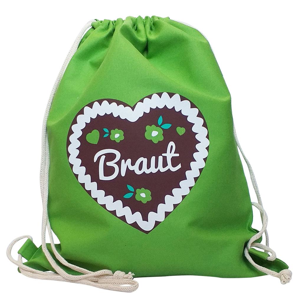 Grüner JGA Braut-Beutel mit Lebkuchenherz-Motiv
