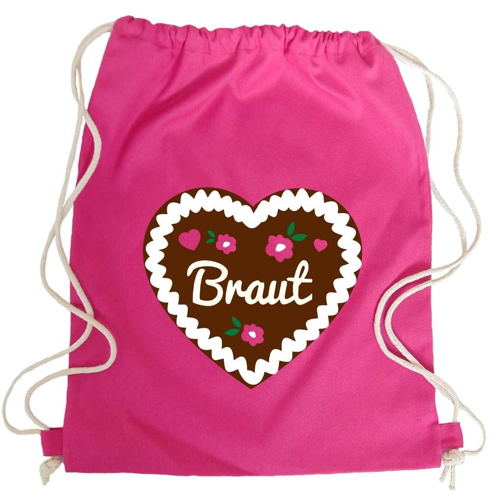 JGA Turnbeutel-Rucksack mit Braut-Lebkuchenherz-Motiv - Pink