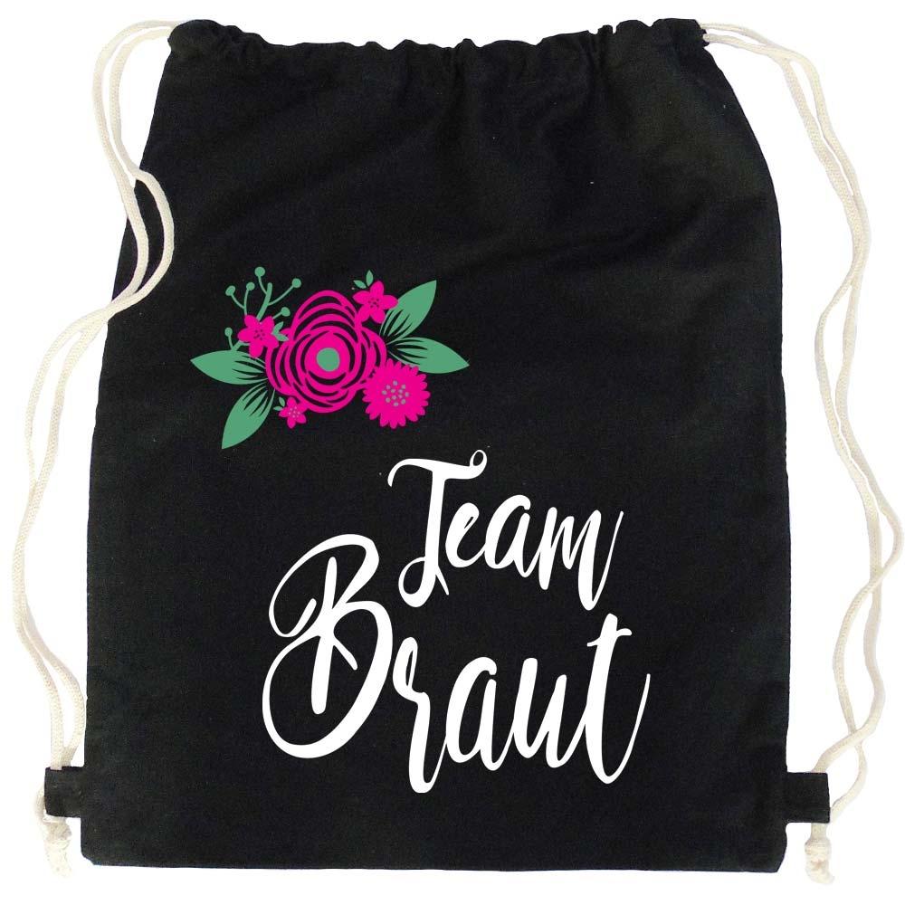 Schwarzer JGA Turnbeutel mit Team Braut-Aufruck und Blumen
